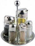 Set condimente 5 piese sare/piper/ulei/otet/scobitori - H200 mm, Italia