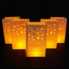 Lampioane decorative model stelute albe, 25 cm, set 5 bucati