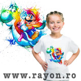 Cumpara ieftin Tricou Copii Personalizat , Bumbac – Mario Rainbow