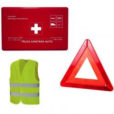 Kit auto: trusa medicala, triunghi reflectorizant si vesta