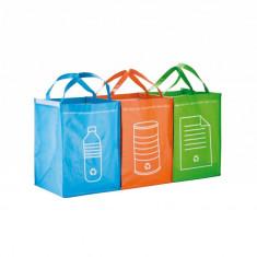 Set 3 sacose pentru colectarea selectiva a deseurilor, Everestus, RE01, polipropilena, verde, saculet sport inclus