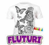 Tricou de colorat cu markere lavabile Fluturi 9-11 ani