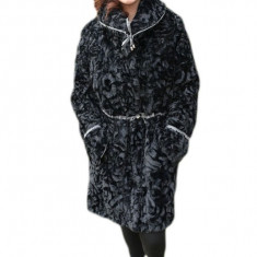 Jacheta chic cu doua fete, blana ecologica neagra, fas gri deschis