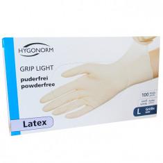 Manusi latex Grip Light marimea L, albe, 100 bucati/cutie, nepudrate