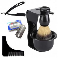 Set ingrijire barber cu brici metalic suport pamatuf si bol pentru ras barba