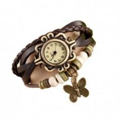 Ceas de dama Retro Vintage, curea din piele, accesoriu fluture, model maro, CS1012
