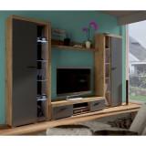 Mobilier living, stejar lefkas/grafit, NESEBAR XL