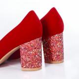 Pantofi Delisa rosii cu gliter