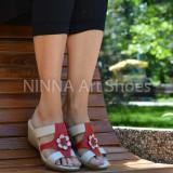 Sandale dama din piele naturala, rosu - crem - NA303ROSU