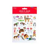Cumpara ieftin Abtibilduri DACO Lipeste si Zambeste, Model Caini, Multicolor, 16 Buc/Set, Autocolante cu Caini, Stickere Decorative, Stickere pentru Copii, Abtibildu