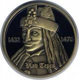 Romania -  Medalie emailata Castelul Bran, Vlad Tepes, 42 mm diametru
