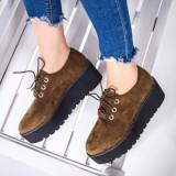 Pantofi dama cu platforma khaki Kalisa