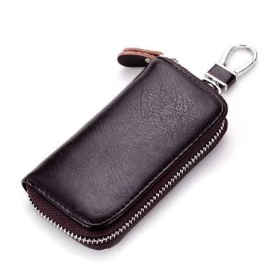 Husa portofel port chei cheie auto, piele naturala, maro inchis, gd1014 foto