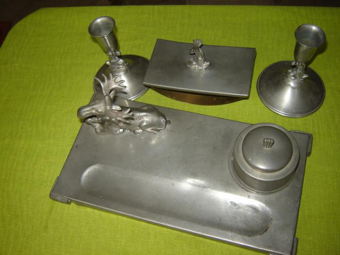 Suport vechi de birou din zinc, provenienta suedeza