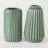 Cumpara ieftin Vaza decorativa din ceramica Icona Verde / Alb, Modele Asortate, Ø8,5xH15 cm