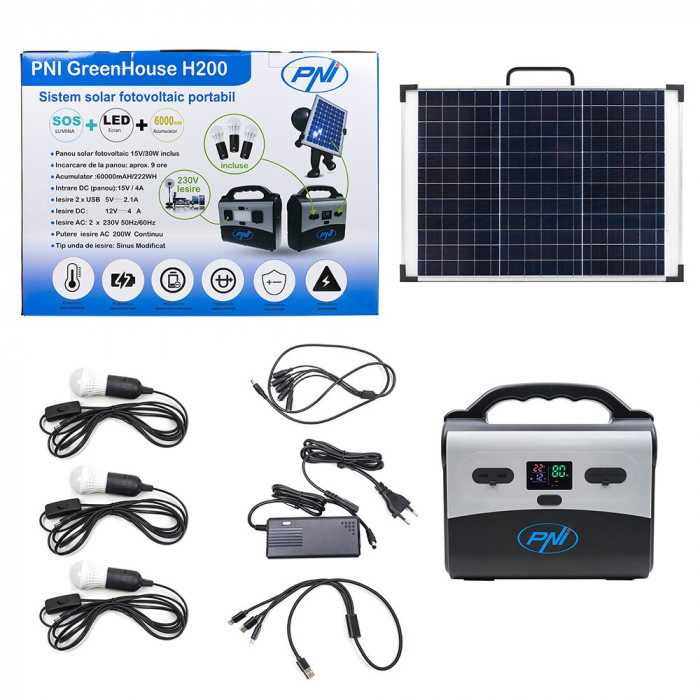 Resigilat : Sistem solar fotovoltaic PNI GreenHouse H200, acumulator Litiu, 3 becu
