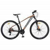 Bicicleta MTB-HT CARPAT C2959H, roti 29inch, cadru aluminiu 18inch, frane hidraulice disc SHIMANO, 24 viteze (Negru/Portocaliu)