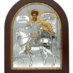 Icoana Argint Sfantul Dumitru 110X130mm Cod Produs 2734