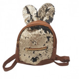 Ghiozdan copii geanta rucsac urechi, paiete, fermoar, Dalimag, 22x25x10 cm