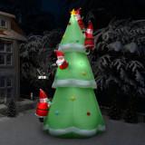 Brad gonflabil cu Moș Crăciun, LED, IP44, 500 cm, XXL, textil, vidaXL