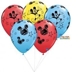 Buchet din baloane latex asortate Mickey Mouse cu heliu, Qualatex BB 18688