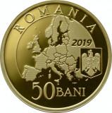 50 Bani 2019 PROOF in capsula + 50 Bani 2018 Marea Unire, in capsula, din fisic, Alama