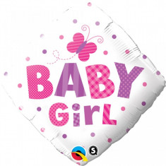 Balon botez fetita Baby Girl Diamond din folie 43cm