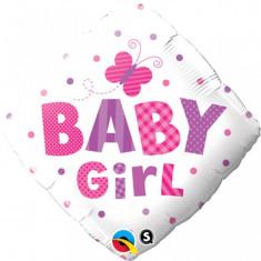 Balon botez fetita Baby Girl Diamond din folie 43cm