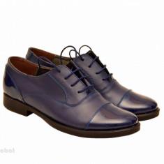 Pantofi dama piele naturala bleumarin cu siret cod P160