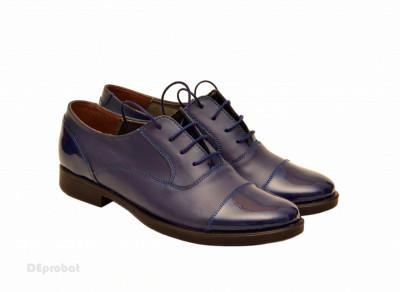 Pantofi dama piele naturala bleumarin cu siret cod P160 foto