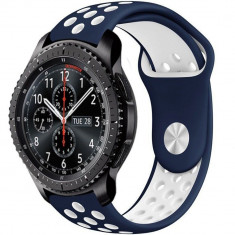 Curea ceas Smartwatch Samsung Gear S3, iUni 22 mm Silicon Sport Blue-White