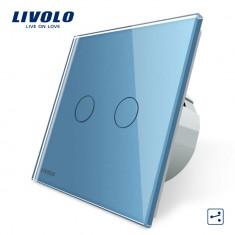 Intrerupator dublu cap scara / cap cruce cu touch Livolo din sticla, Albastru