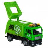 Masinuta de jucarie in miniatura, model camion de gunoi, 11x4x5 cm, verde