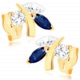 Cumpara ieftin Cercei din aur 375 - ramură strălucitoare cu frunze, safir albastru, zirconiu transparent