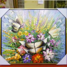 Tablou pictat manual pe panza in ulei Fluturi A-267, Natura, Realism