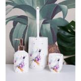 Set pentru baie din portelan cu un papagal CW162, Decorative