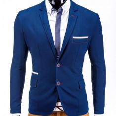 Sacou pentru barbati, bleumarin, casual, slim fit, cu buzunare aplicate, elegant, inchidere doi nasturi - M40