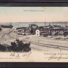 DOBROGEA   SALUTARI DIN  CONSTANTA    PORTUL  IN  LUCRARE   CIRCULATA  1907  UPU, Printata
