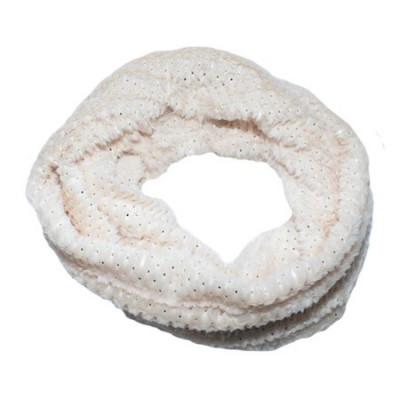 Fular Ioda circular cu insertii de paiete,nuanta de alb foto