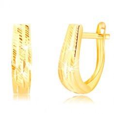 Cercei din aur galben de 14K - bandă lată cu crestături decorative