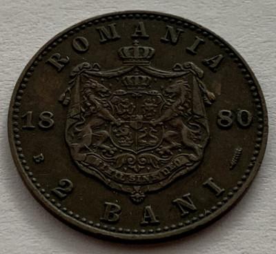 2 Bani 1880, Romania, batere dubla la DOMNUL foto