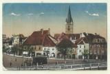 cp Sibiu : Piata Printul Carol - 1918, circulata,timbre