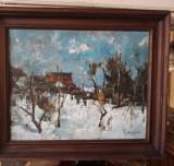 """Pictură """"Peisaj de iarnă"""" de Teodor Harșia, Peisaje, Ulei, Impresionism"""