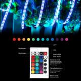 LED strips benzi 5m, impermeabil, senzor de muzica, SMD 5050 300 LED telecomanda