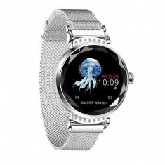 Smartwatch Fitness Sport Waterproof Argintiu Elegant pentru Dama H2 cu Monitorizare Somn si Cardiaca