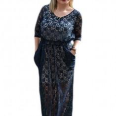 Rochie de ocazie lunga, cu captuseala scurta si dantela bleumarin