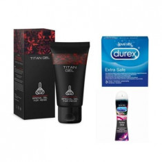 Gel Titan 50 ml+ Durex Extra Safe. 3 buc+ Durex Perfect Glide, 50 ml