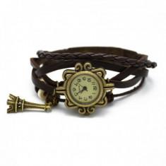 Ceas de dama Retro Vintage, curea din piele, accesoriu Turn Eiffel, model maro