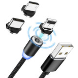 Cablu Magnetic incarcare,3IN1 Led Micro USB Lightning Type C Iphone Samsung