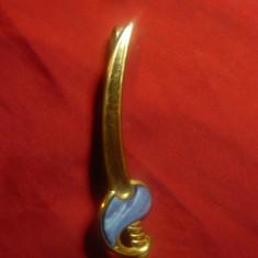 Ac de Cravata in forma de Iatagan , alama si email , L=7,3cm